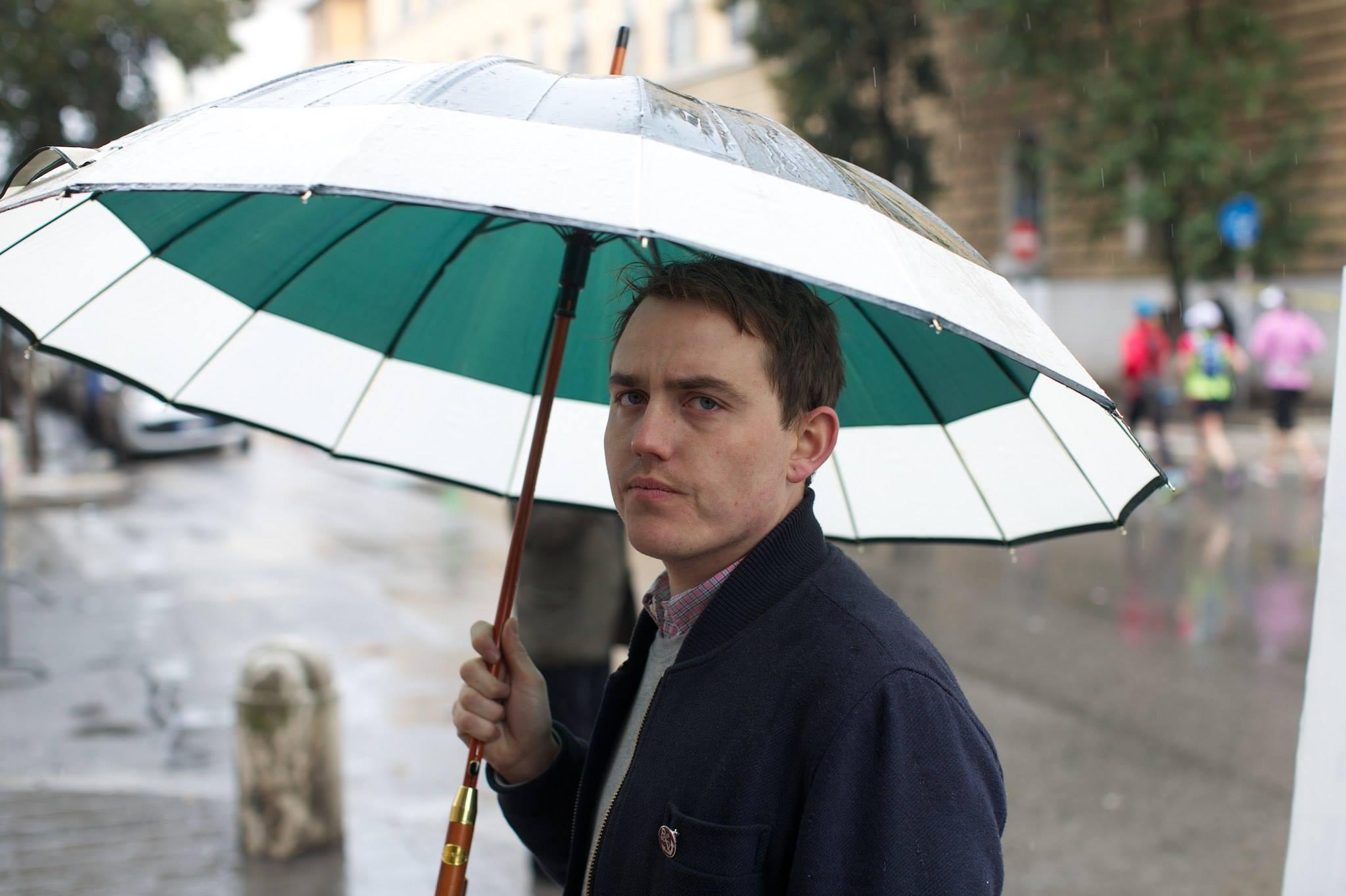 eoin with umbrella, 2015