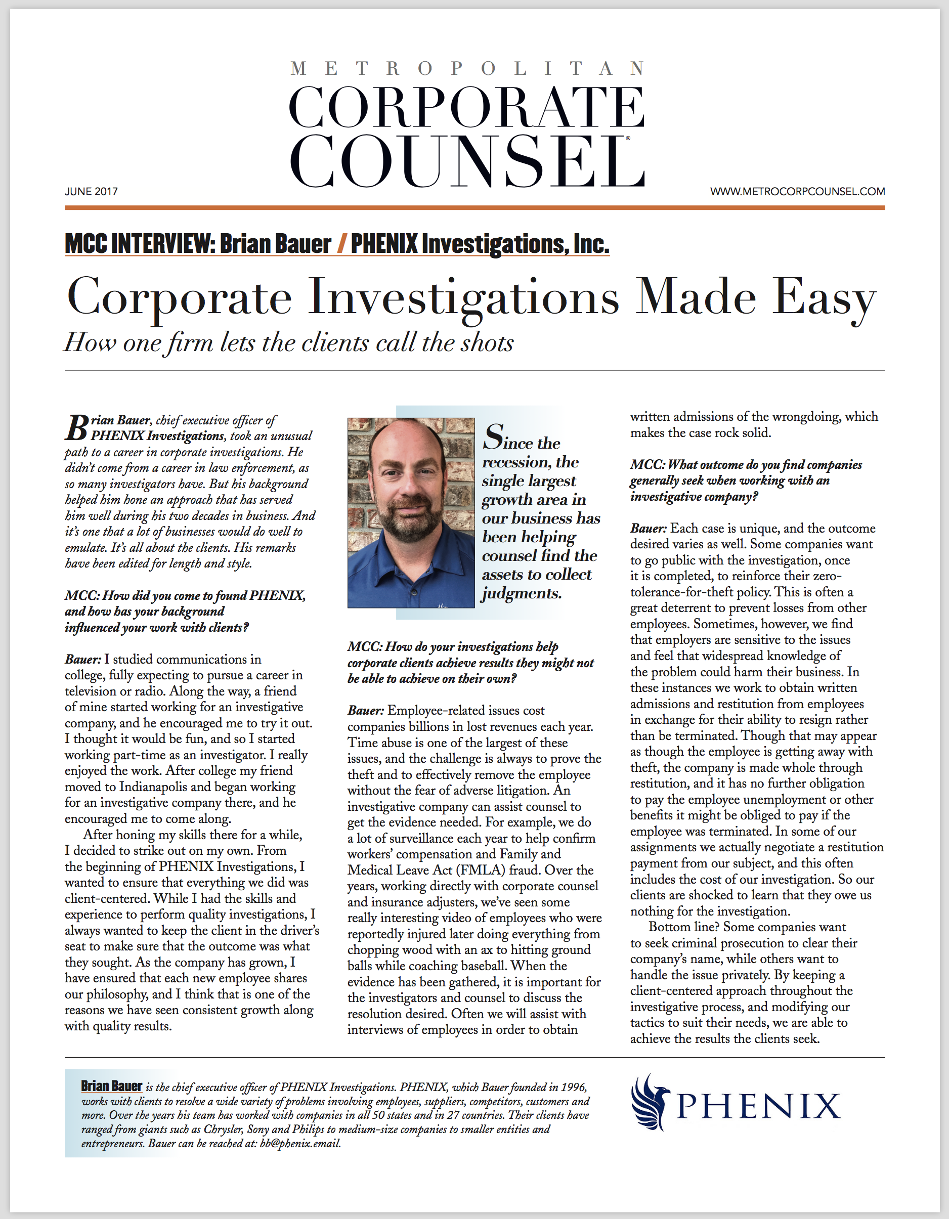 Brian Bauer, CEO of PHENIX, is featured in national publication. - Corporate Investigations Made Easy, by Corporate Counsel
