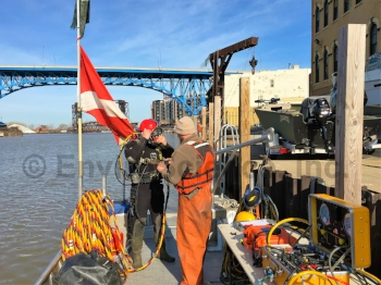 Downtown Cleveland steel sheet pile underwater inspection