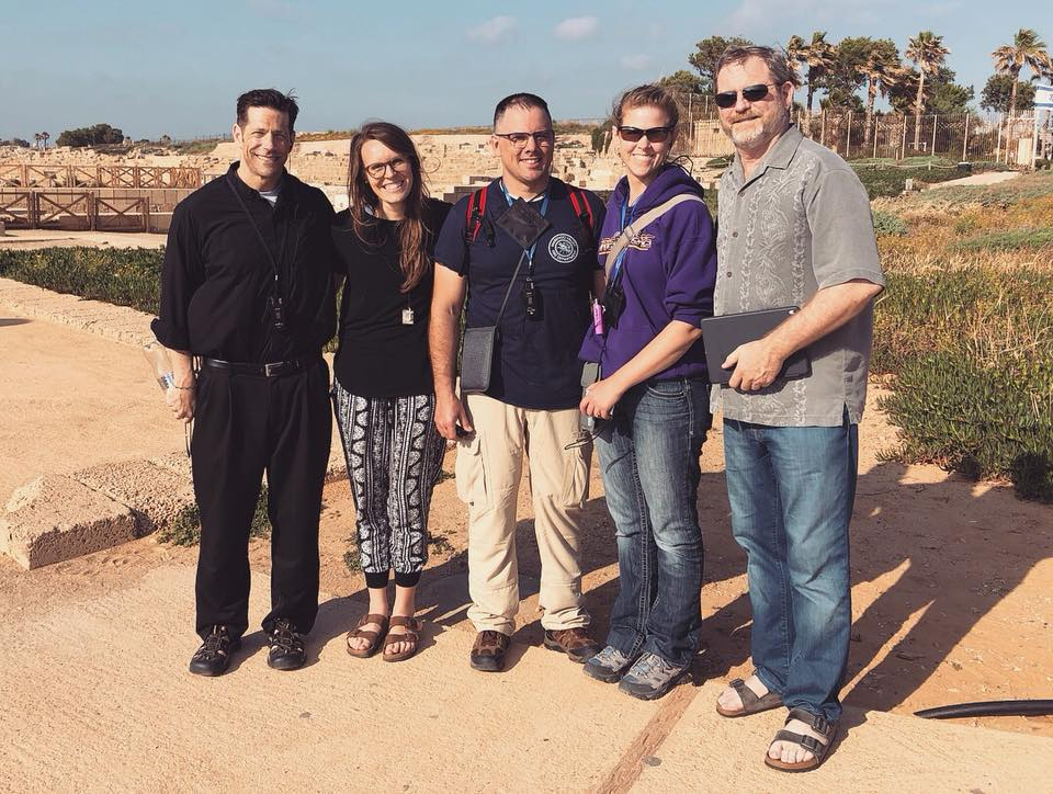 Fresh off the plane and at the first Holy Site (Caesarea Maritima): Pilgrimage winner Becky Mika and her husband Tim with Fr. Mike Schmitz, Aly Aleigha & Jeff Cavins