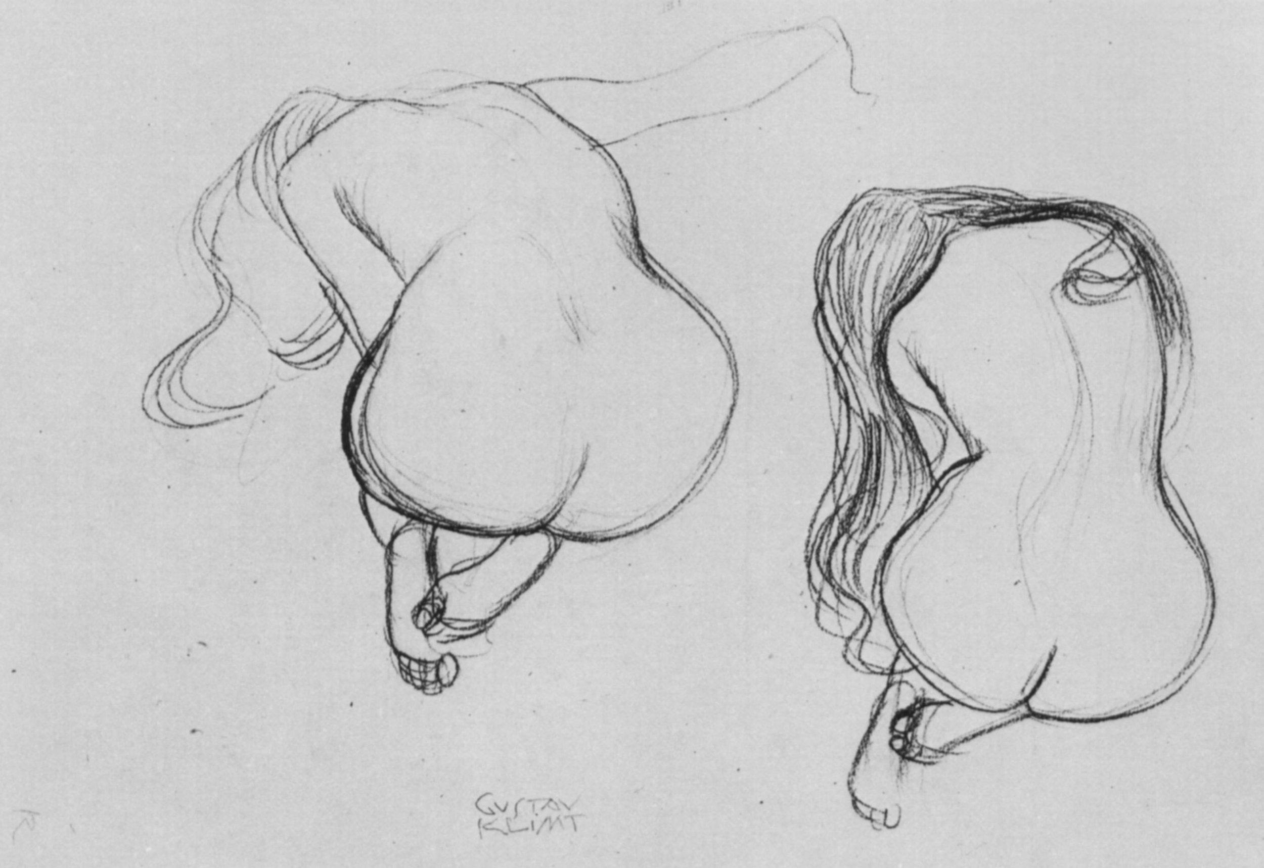 19o2  Gustav Klimt  /   Two Studies of Sitting Nudes   .