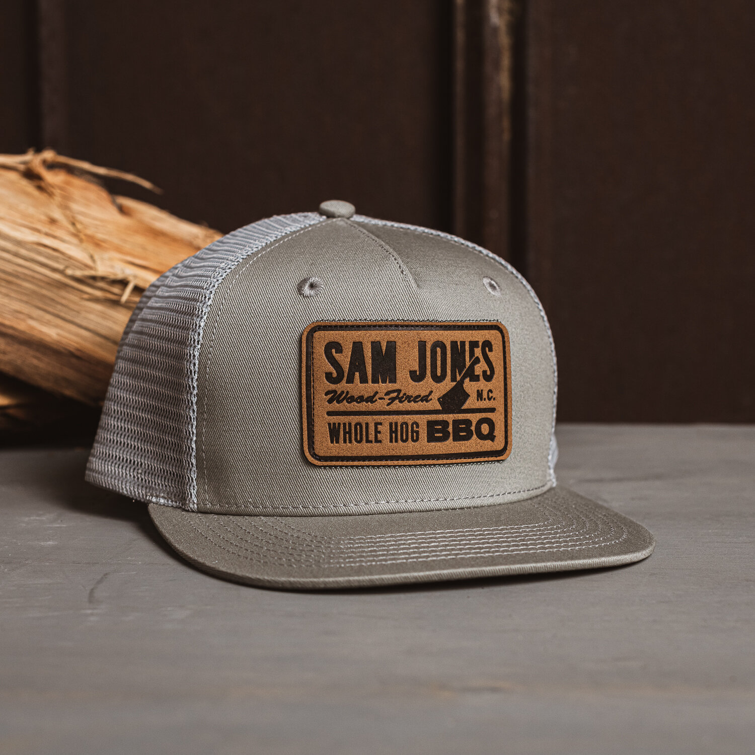sam jones bbq leather patch grey hat sam jones bbq