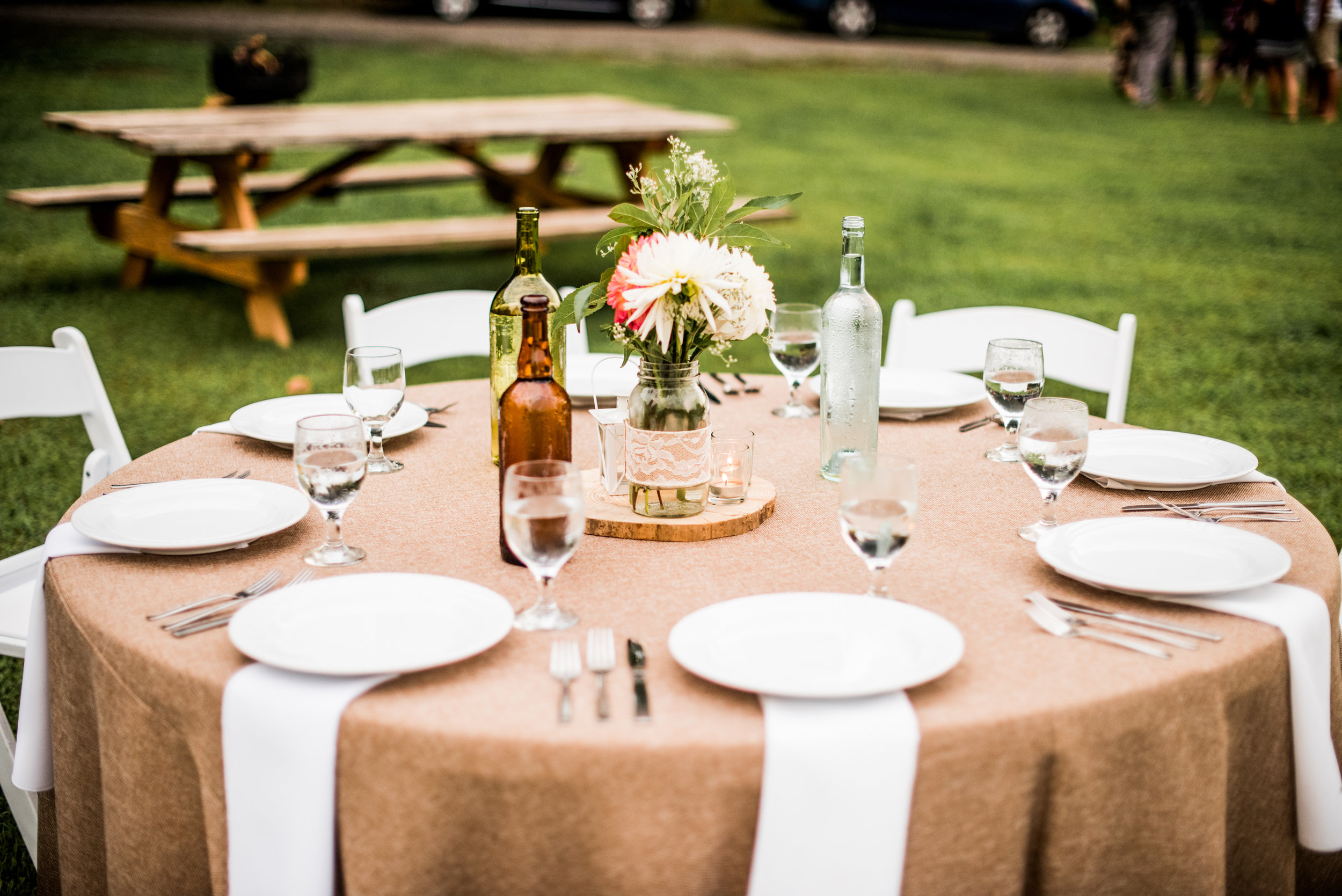 rustic reception tables with burlap