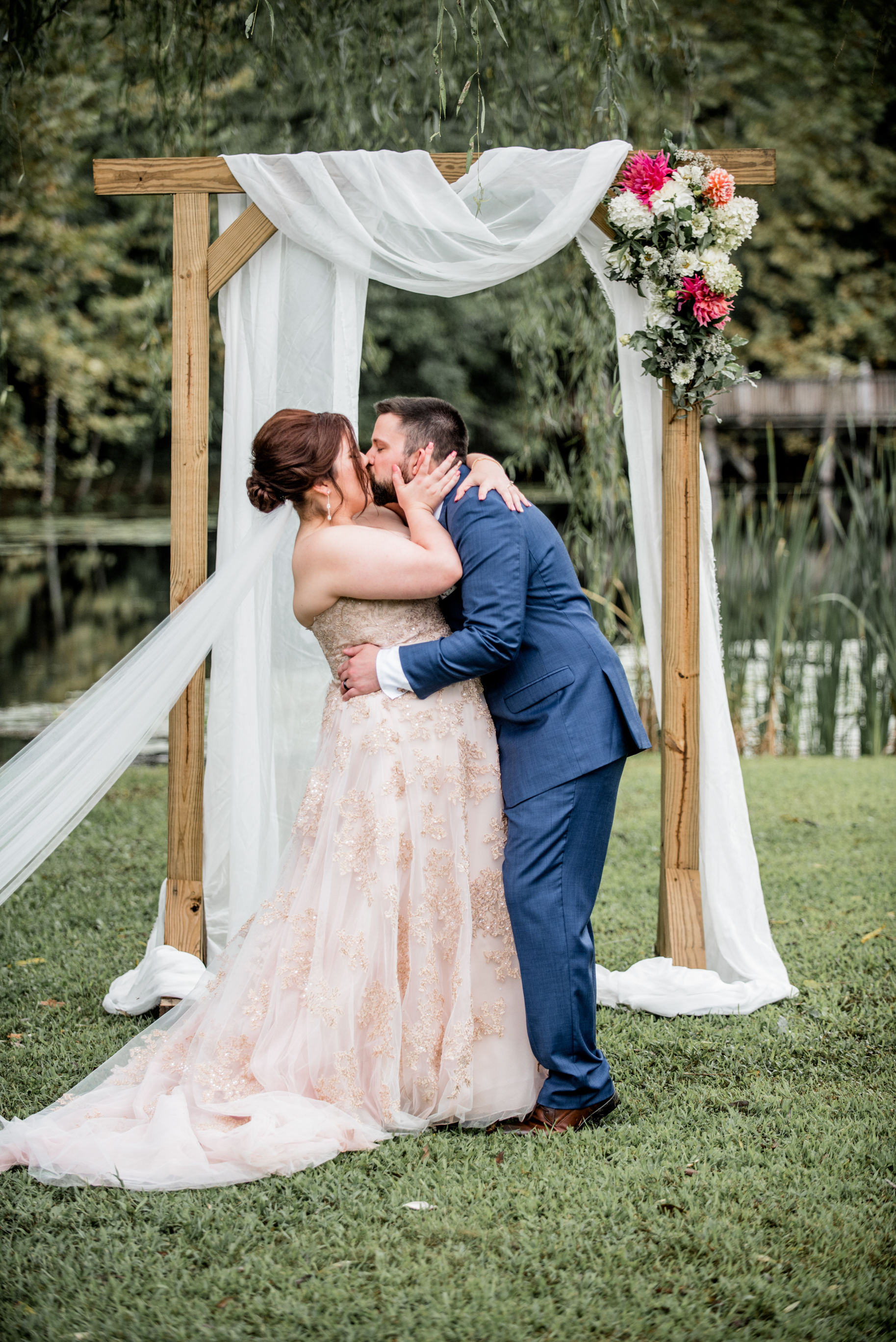 first kiss as husband and wife during romantic ceremony