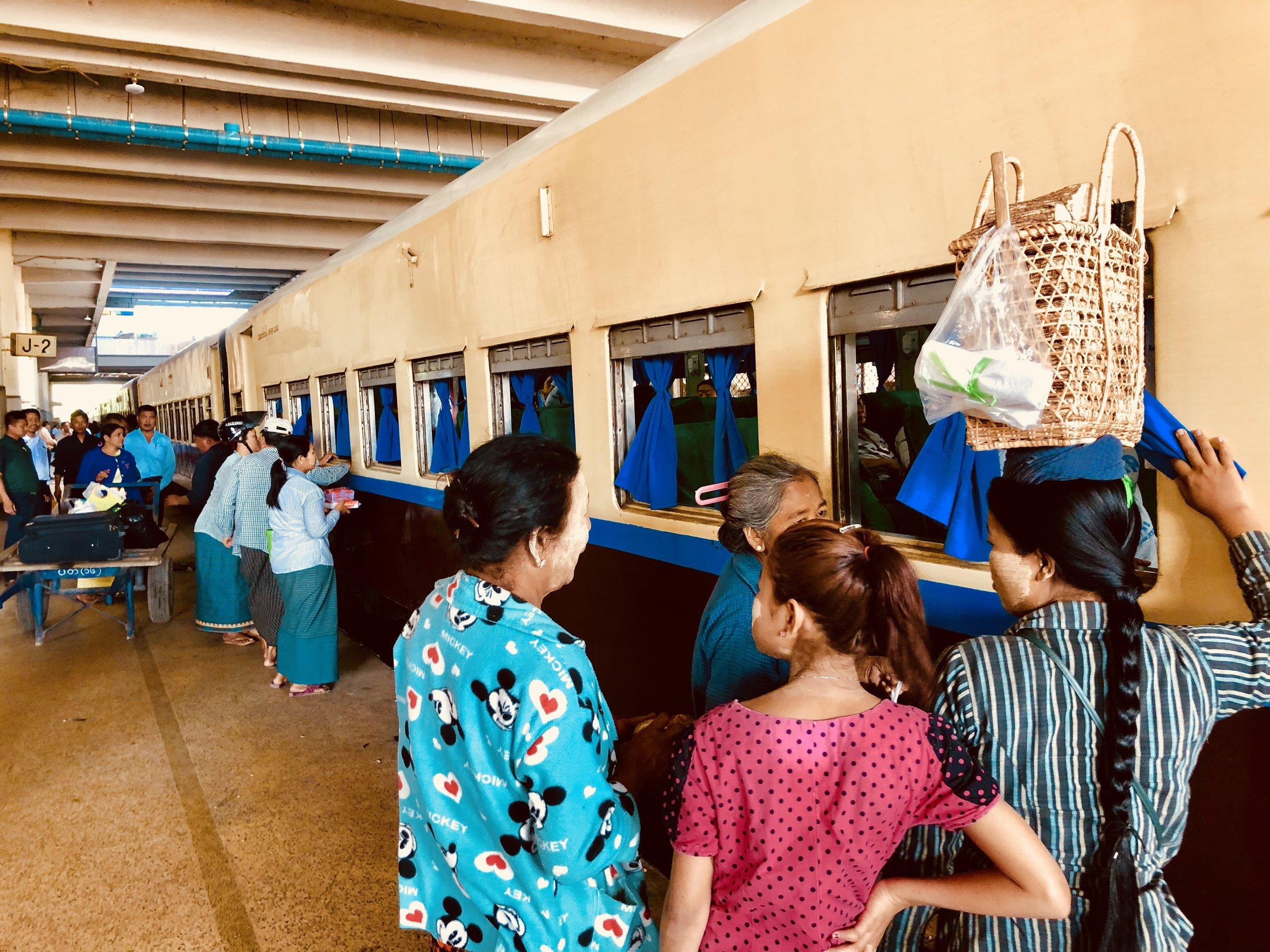 Boarding the train in Mandalay
