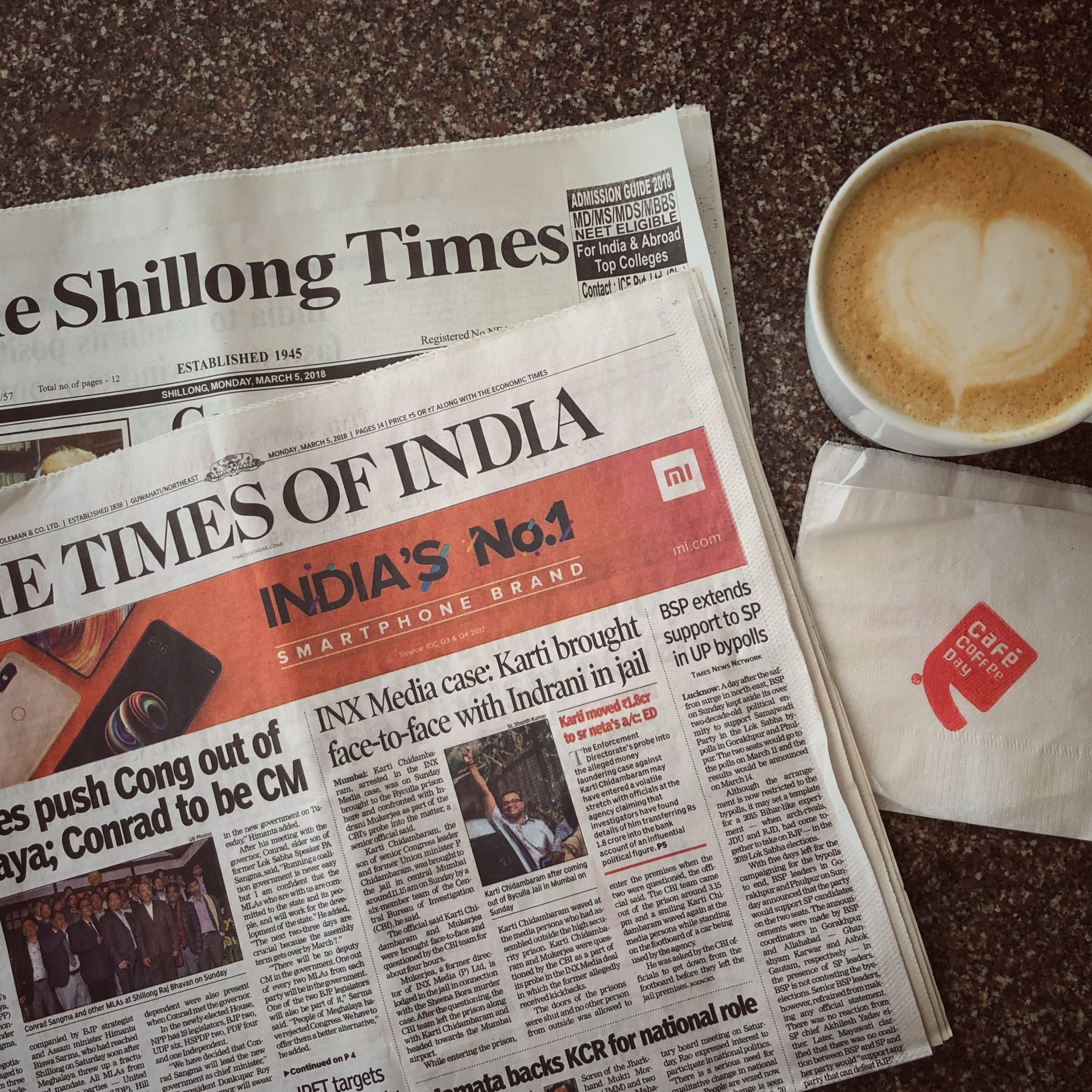 My morning routine in Shillong - great coffee
