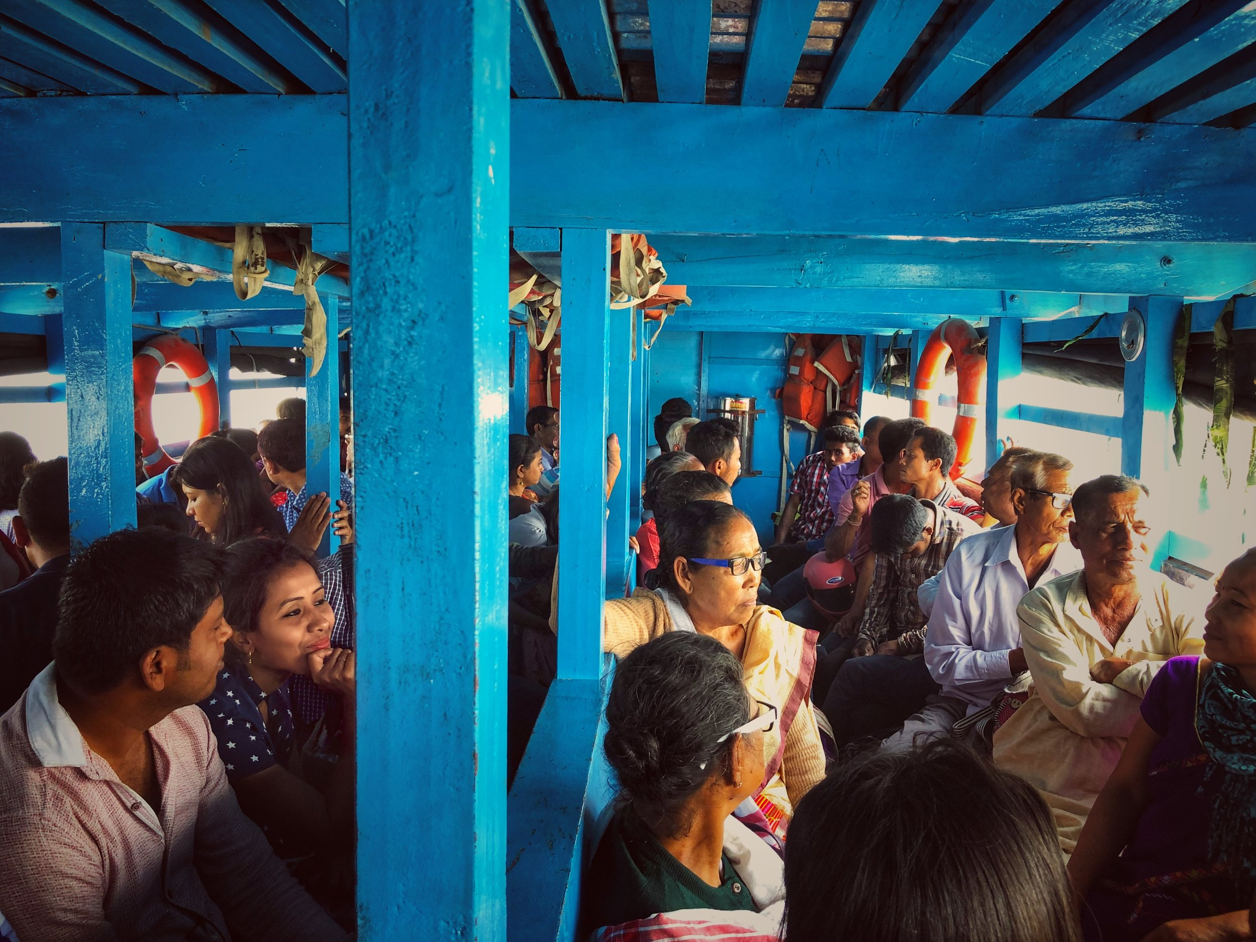 The ferry crossing the Brahmaputra from Nimati Ghat to Majuli