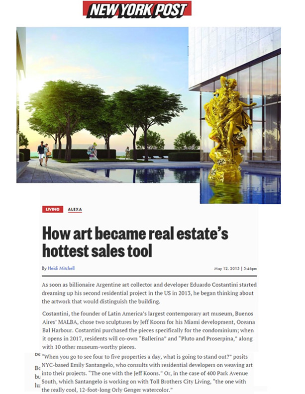 New York Post - How art became real estate's hottest sales tool - 5.12.15