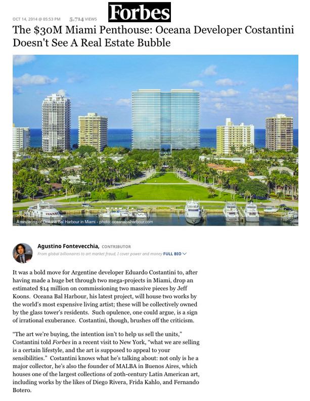 Forbes - The $30M Miami Penthouse- Oceana Developer Costantini Doesn't See A Real Estate Bubble - 10.14.14