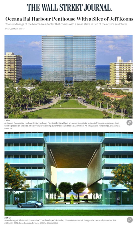 The Wall Street Journal (online) - Oceana Bal Harbour Penthouse With a Slice of Jeff Koons - 12.4.14