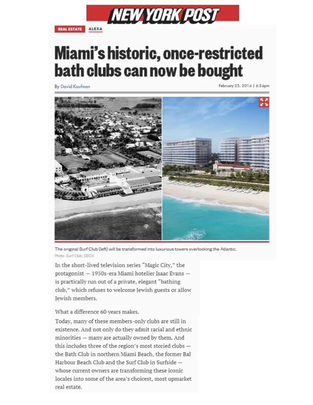 NYPost.com - Miami's historic, once-restricted bath clubs can now be bought - 2.25.2014
