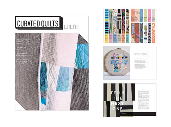 Curated Quilts Journal   Quarterly Publication features modern quilt designs as curated art. Logo design of mast head and shortened CQ icon. Designed content, art directed imagery, overall look and feel of journal.