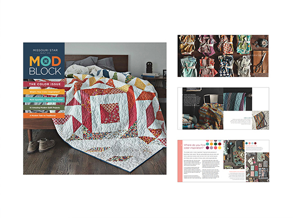 Modblock magazine   Magazine for modern quilter. Full of patterns contributed by various designers in the industry. Creative director for over all look and feel. Design, art direct and layout magazine.