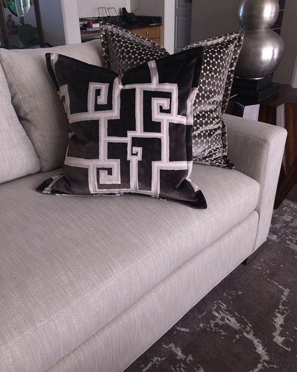 Perennial Indoor/Outdoor Fabric - Ishi White Sands on Sofa - Designer: Belle Avenue Design