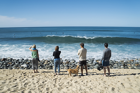 The crew checks the surf near Todos Santos, Mexico; Photograph by Max Lowe