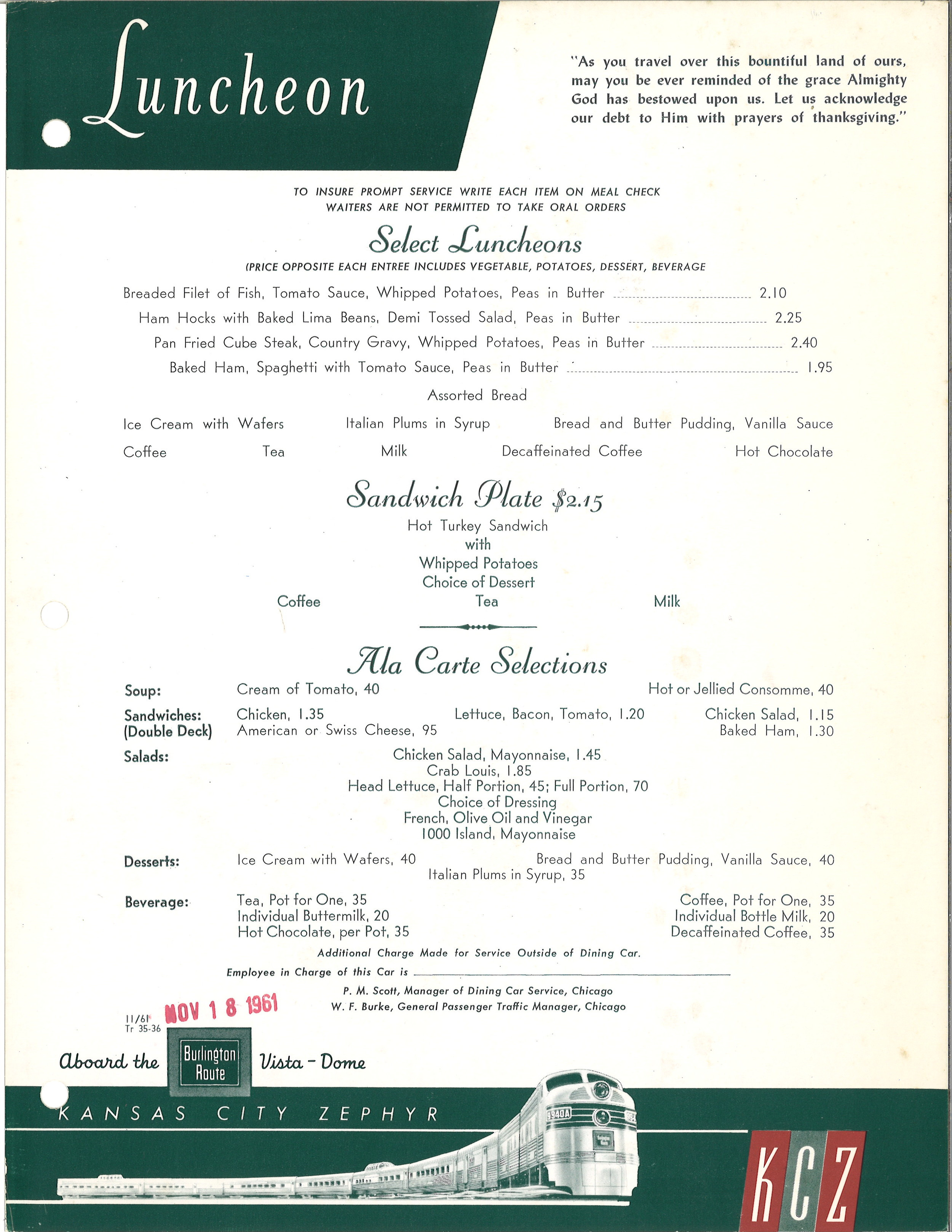 Burlington Kansas City Zephyr Lunch Menu 11-61 .jpg