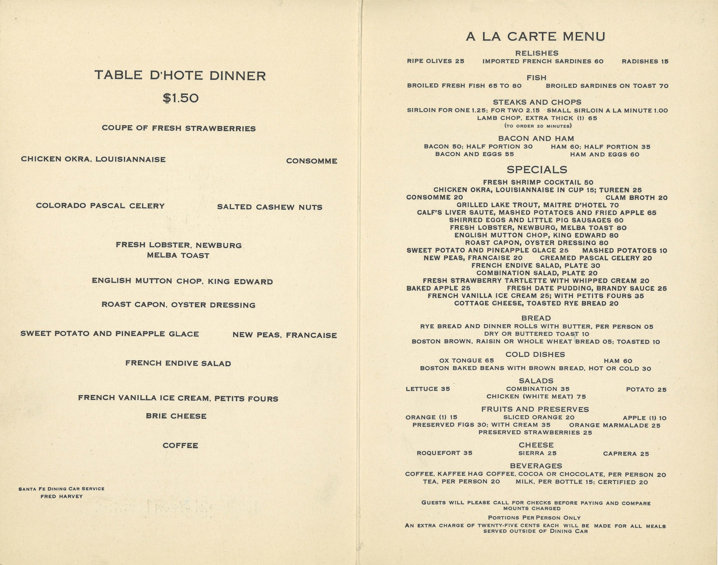 Santa Fe The Claifornia Limited Dinner Menu Jan 1934 -2.jpg