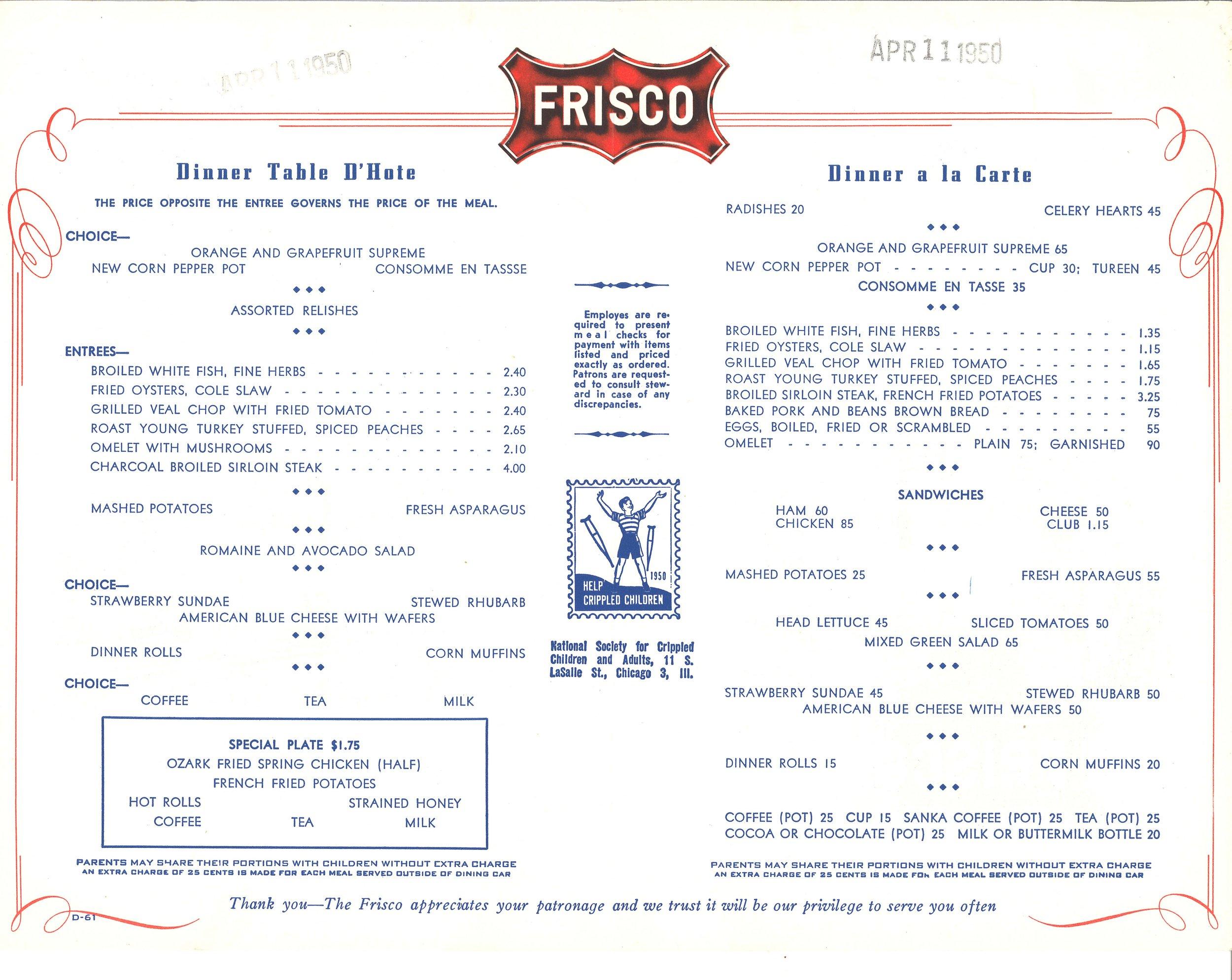 Frisco Texas Special Dinner Menu April 1950_sm2.jpg