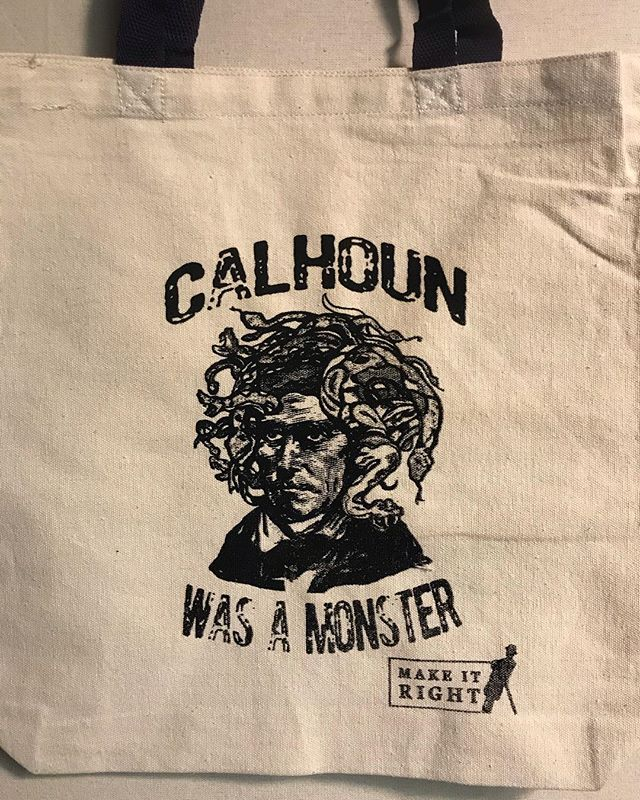If y'all interested or have a desire to make a change to the exaggerated icons displayed in Charleston. Show up tomorrow night, the @makeitrightproject will be kicking off a little sumpin over @reduxartcenter  Grab yerself one of these fresh totes while your there printed by the #handoftodd from #charlietownprints #screenprinting  #screenprint #calhounwasamonster
