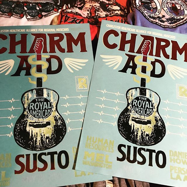 Come getchu some! First two love printed posters for #charmaid here at @theroyalamerican  #charlietownprints #handoftodd #screenprint #screenprinting