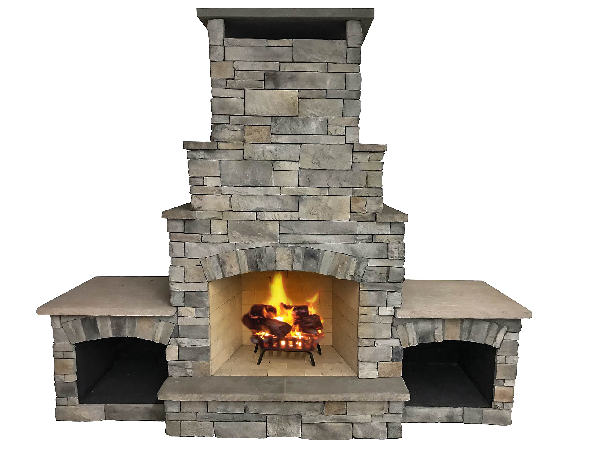 "The Sentinel - A mid-size wood burning outdoor fireplace with a 36"" fire box and an attractive stepped chimney detail. Solidly-built using a FireRock™ masonry core, high temperature fire brick lining and cultured stone veneer. Gas log starters or gas log sets can be added as an upgrade"