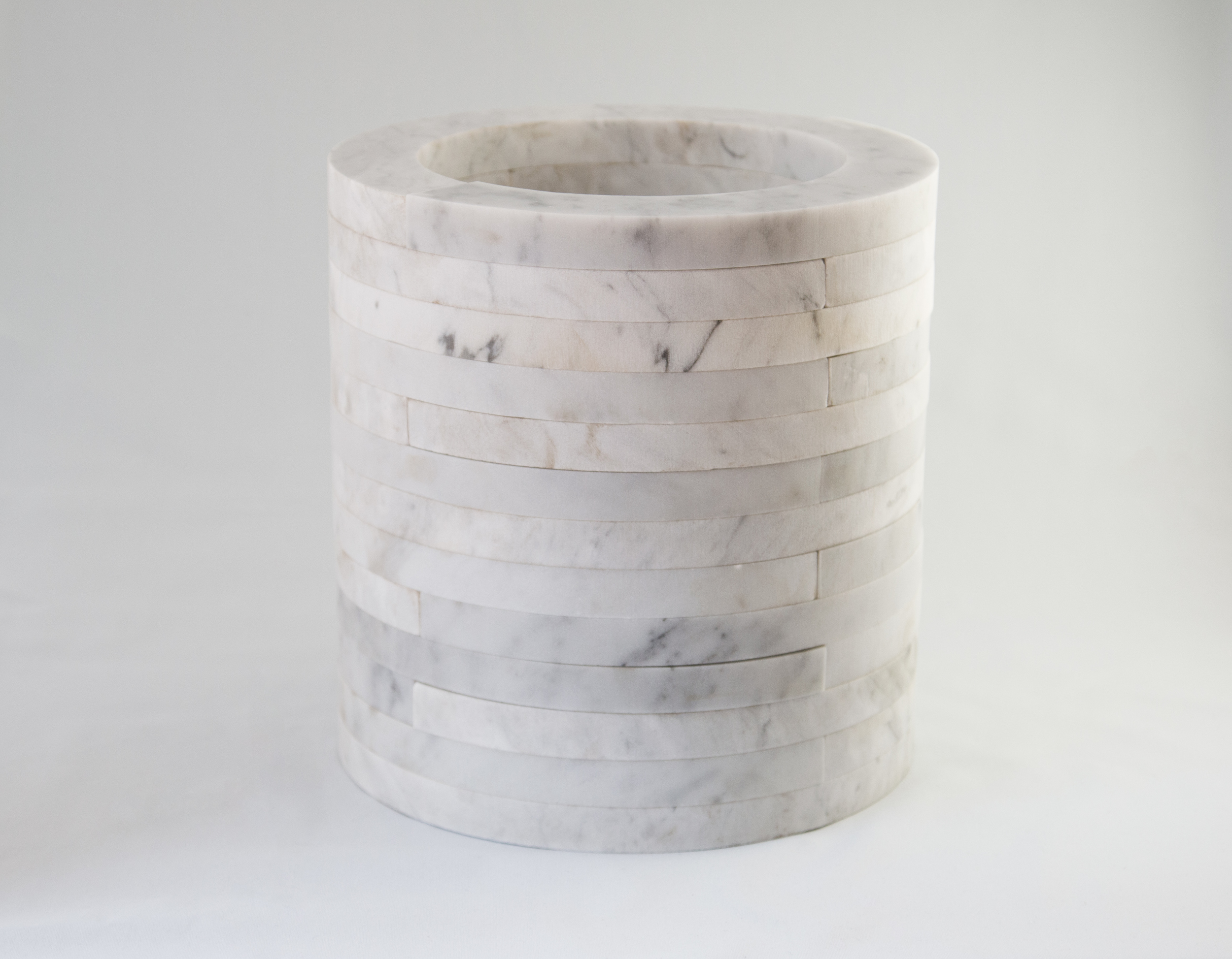 Marble urn made of multiple pieces