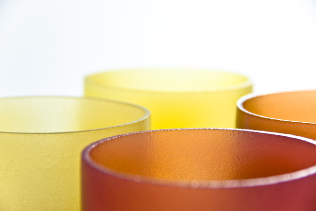 Detail shot of fruit juice jelly bowls