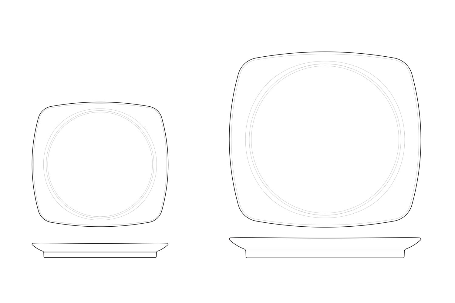 Plates drawing for Réconfort hospital tableware collection