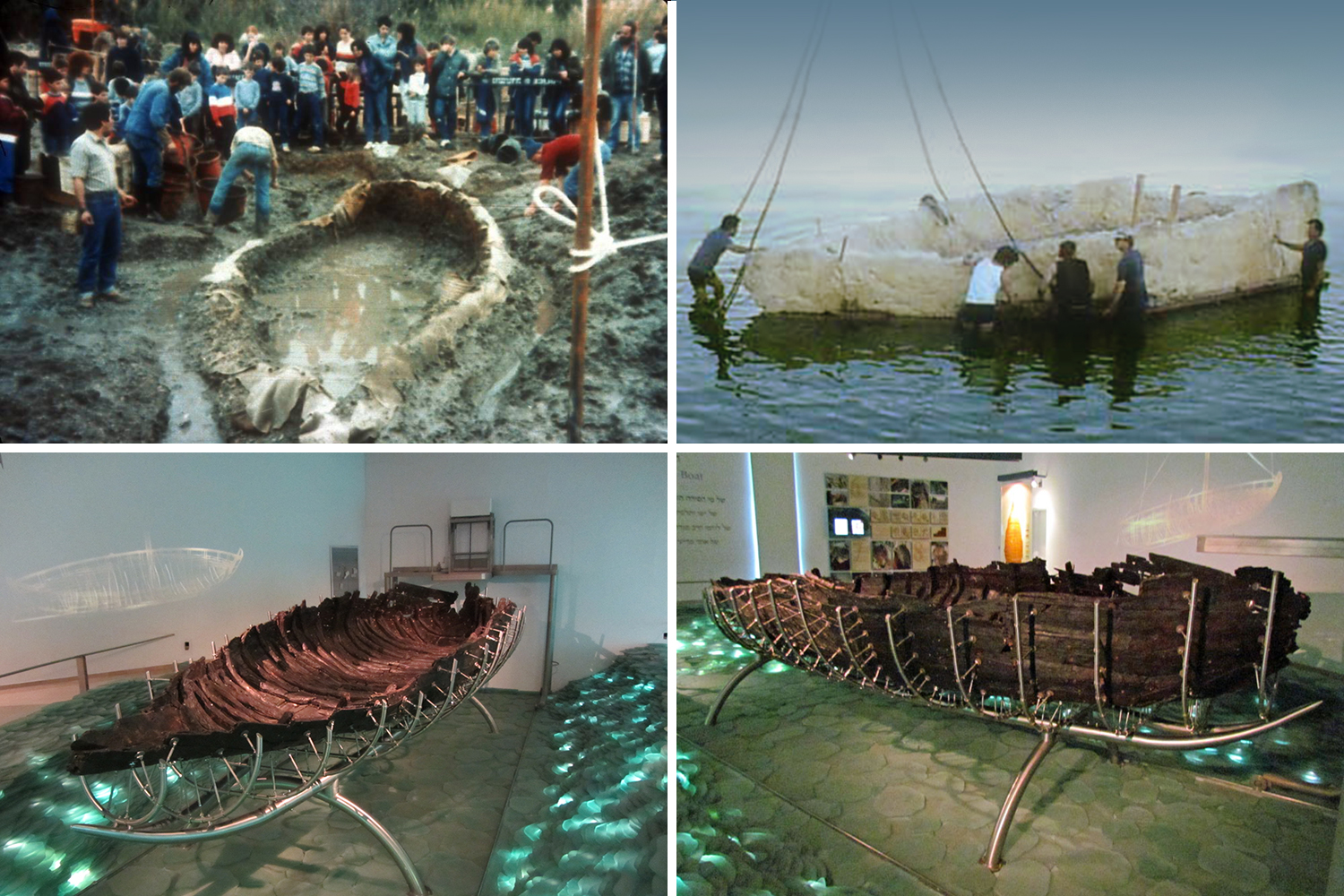 Discovery, recovery, and reconstruction of the Sea of Galilee boat on display at the Yigal Alon Museum in Kibbutz Ginosar, Israel.