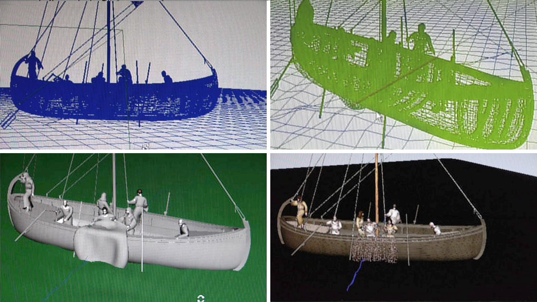 Computer screen renders of the Sea of Galilee boat at Studio Macbeth.