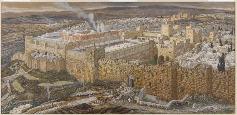James Tissot (French, 1836-1902).  Reconstruction of Jerusalem and the Temple of Herod , 1886-1894. Opaque watercolor over graphite on gray wove paper. Brooklyn Museum.