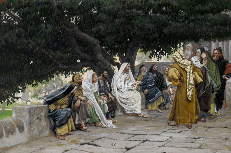 James Tissot (French, 1836-1902). The Pharisees and the Sadducees Come to Tempt  Jesus, 1886-1894. Opaque watercolor over graphite on gray wove paper. Brooklyn Museum.
