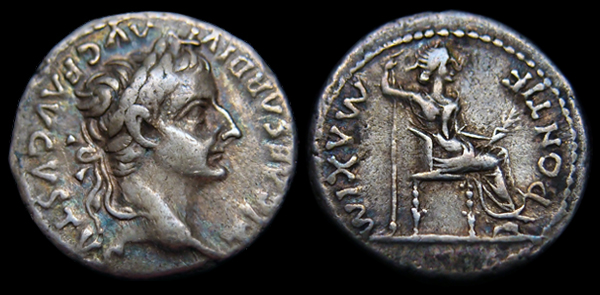 Emperor Tiberius Denarius Tribute Penny