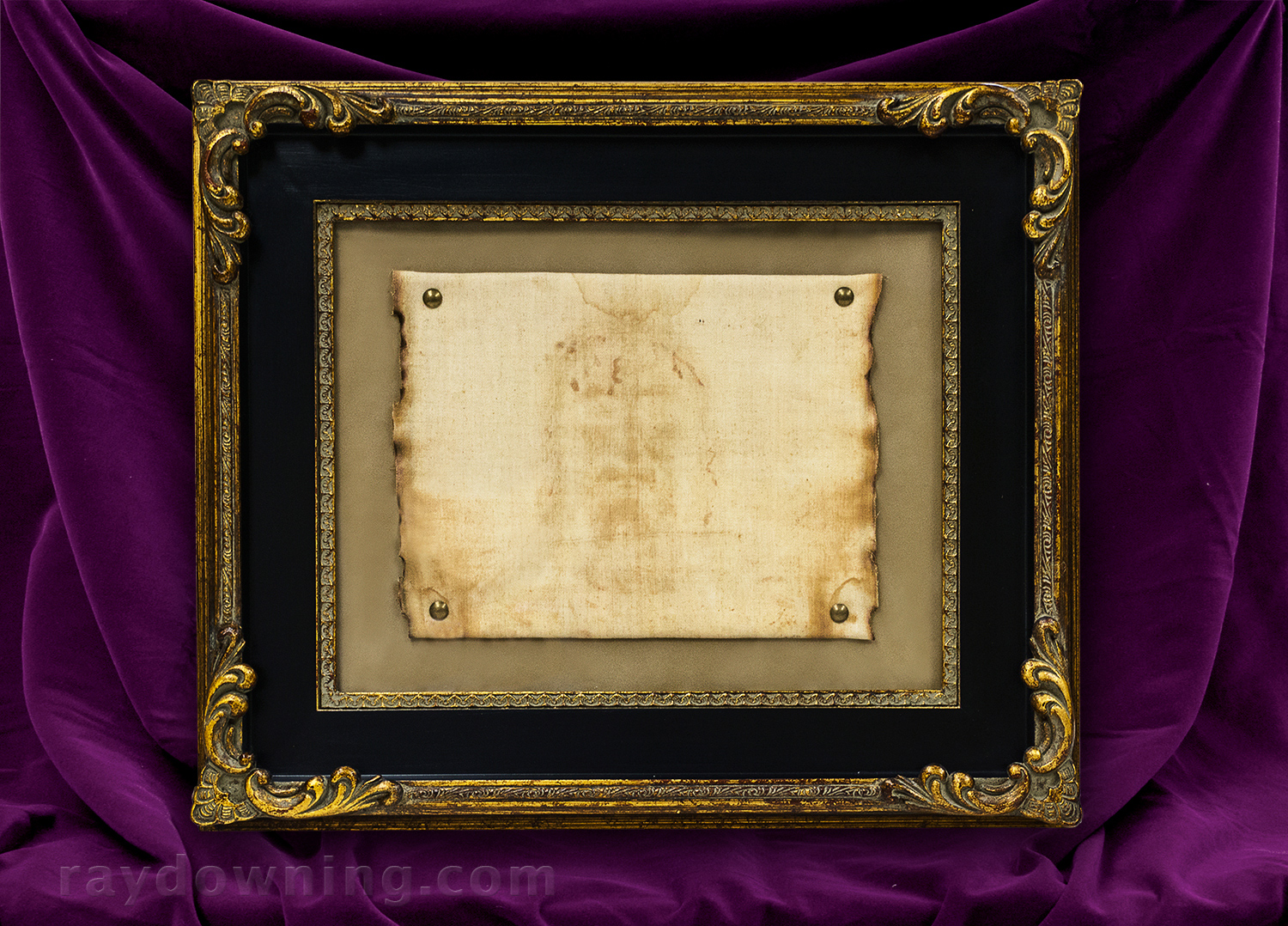 Shroud of Turin framed black and gold