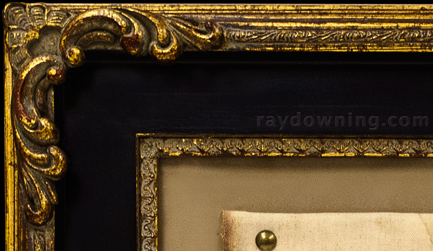 Shroud of Turin frame black gold detail