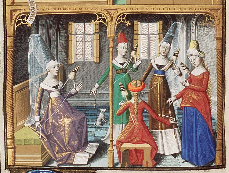 Women spinning flax in the 15th century.