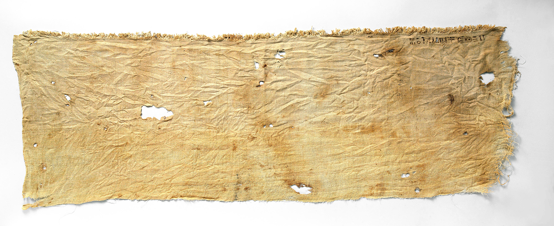 Egyptian mummy linen fabric from Tutankhamun's embalming cache. Metropolitan Museum, NYC.