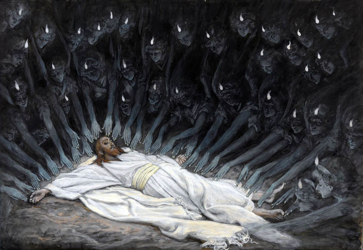 James Tissot (French, 1836-1902). Jesus Ministered to by Angels, 1886-1894. Brooklyn Museum.