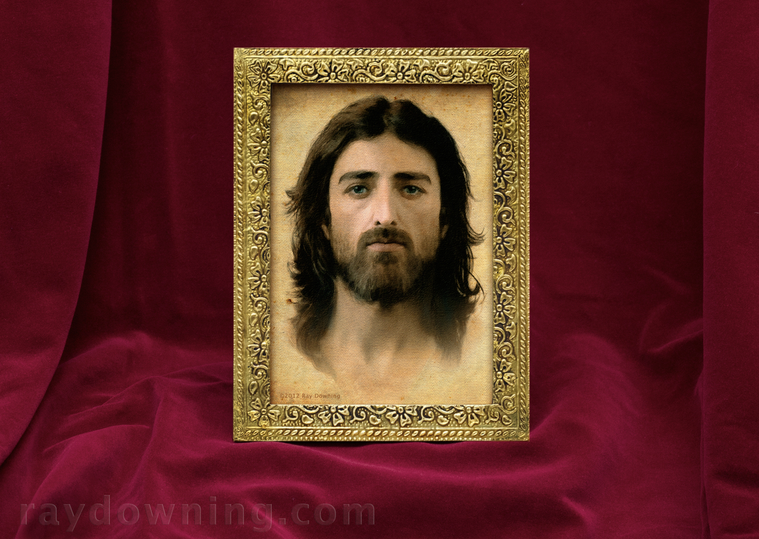 Jesus Portrait in Floral Gold Frame Ray Downing Shroud of Turin