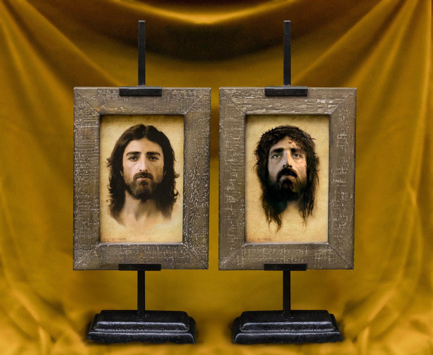 "Beautiful portraits in unusual antiqued frame and pedestal, perfect for tabletop display, 14"" high overall."