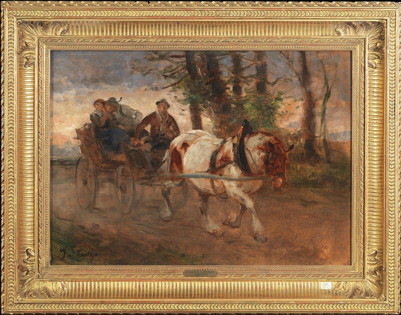 Julius von Blaas (Austrian, Albano 1845 - 1922 Bad Hall). On the Way Home. Oil on wood.