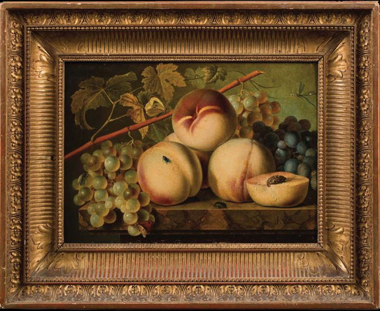 Christian van Pol (Netherlands, Berkenrode 1752 - 1813 Paris). Pêches et Raisins sur Entablement.