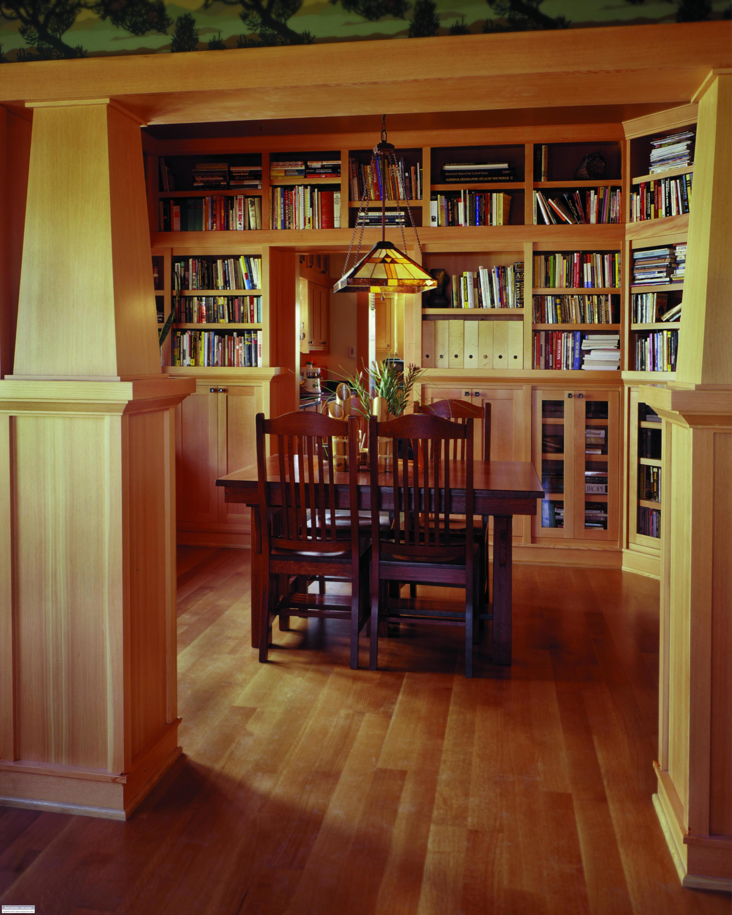 Ballard Craftsman library and dining room