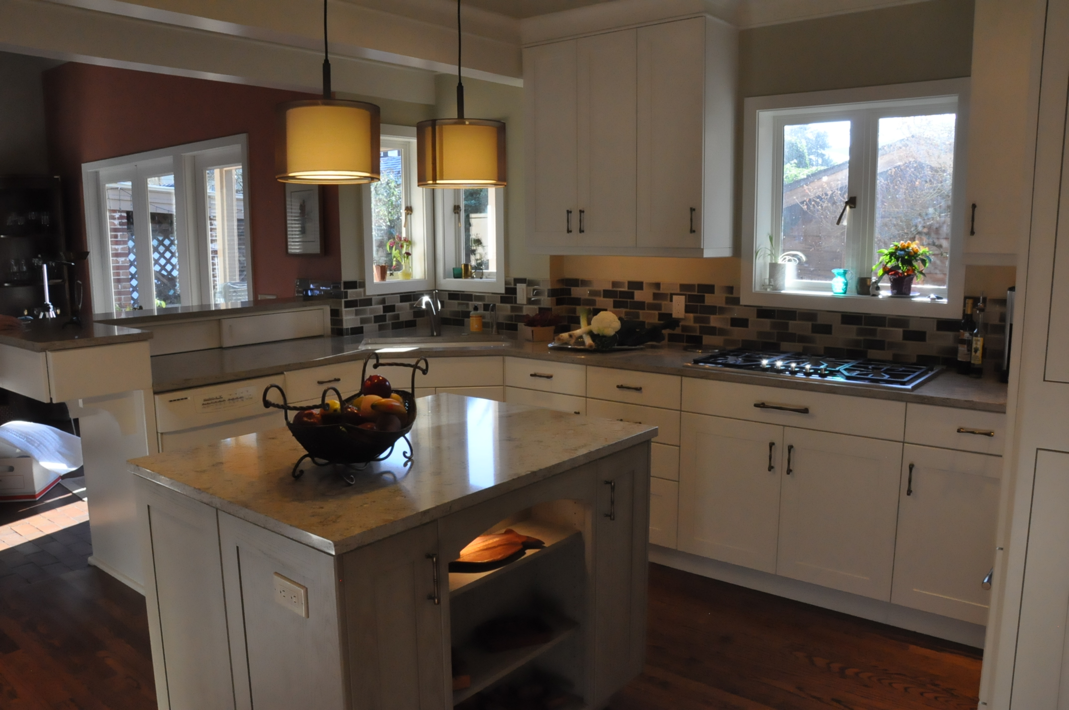 Transitional kitchen open to the family room