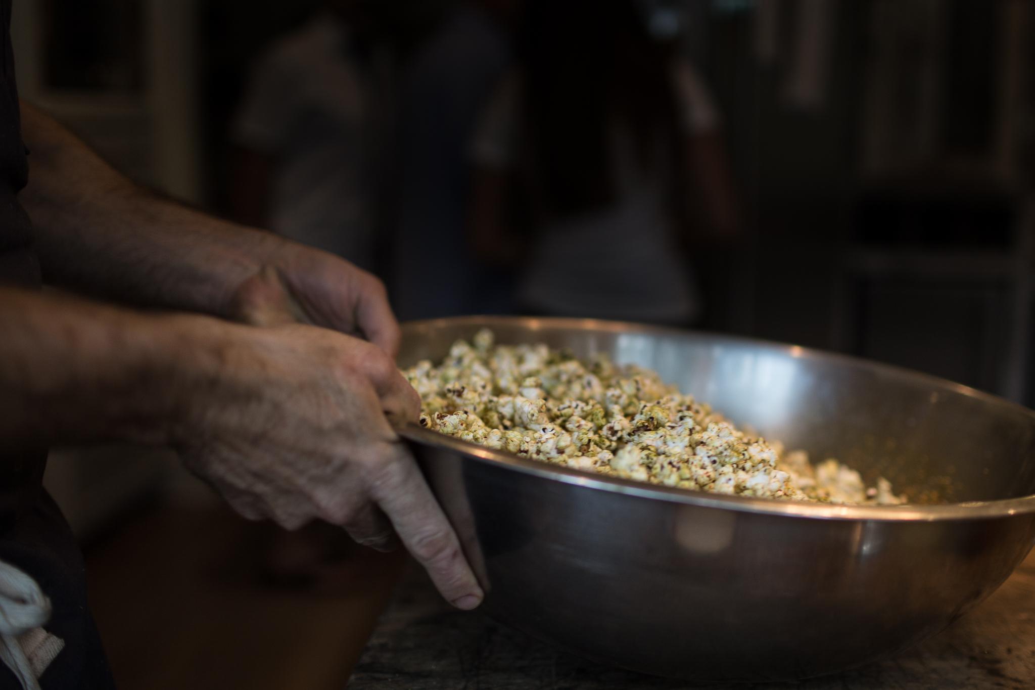 Chef Robert's famous Popcorn appetizer.