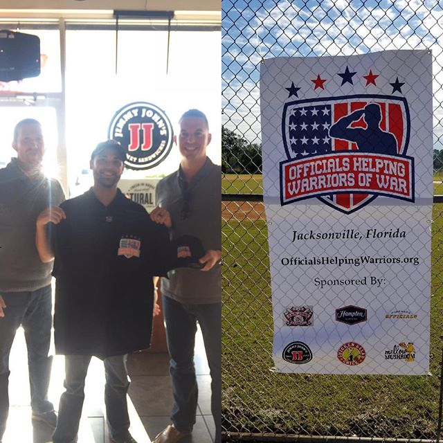 Jimmy John's Thank you so much for all your support of the Officials Helping Warriors of War (OHWOW) organization in our first Baseball Umpire Clinic in Jacksonville, FL. We appreciate your generosity in keeping these guys fed during the long days on the field and instruction in the evenings. Can't wait to get these guys out umpiring baseball on a field near you. Jimmy John's! #OHWOW #jobsforvets #givingback #news4jax