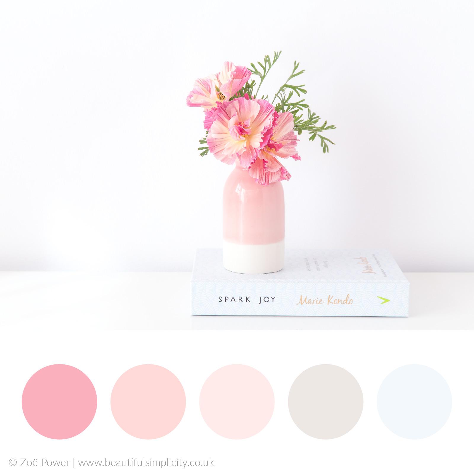 Blush pink colour palette   Jelly Bean Poppies in my  Ceramic Magpie  bottle vase