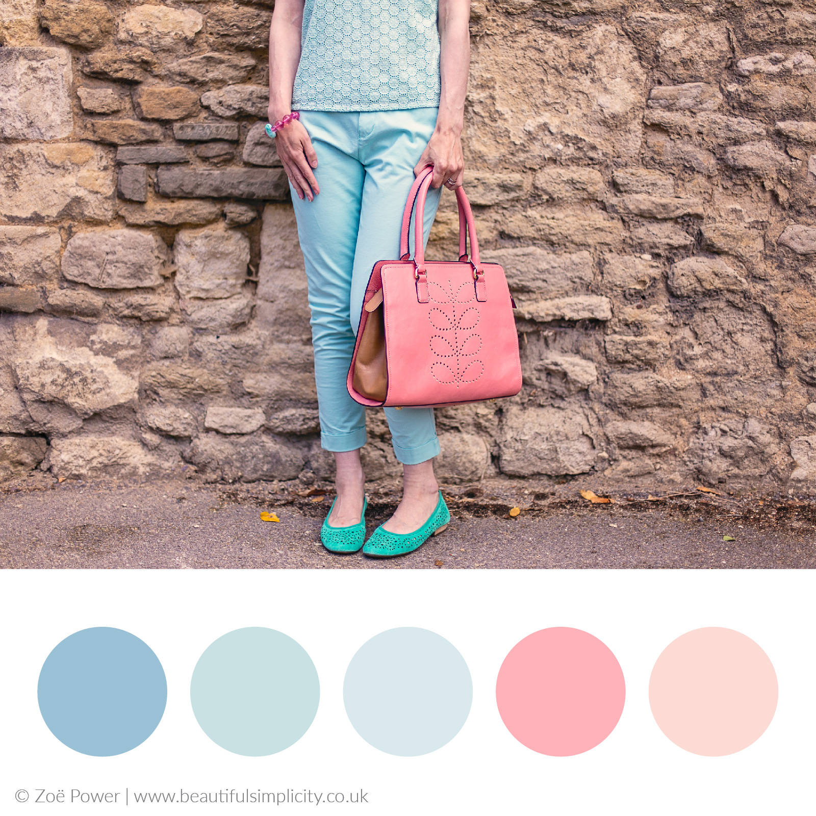 Mint and salmon pink colour palette | Minty fresh summer wardrobe