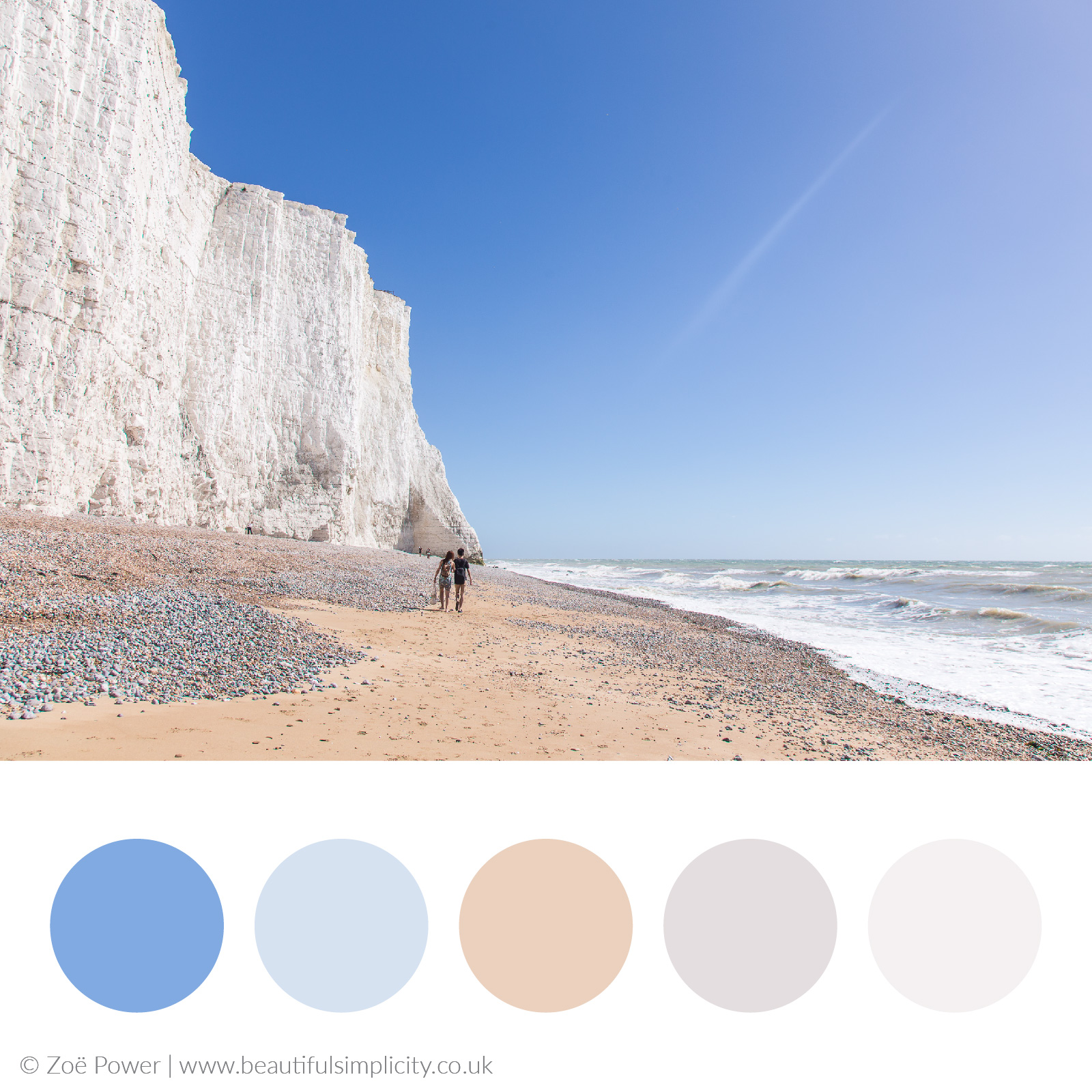 Sky blue and sand colour palette | Cuckmere Haven, East Sussex, UK