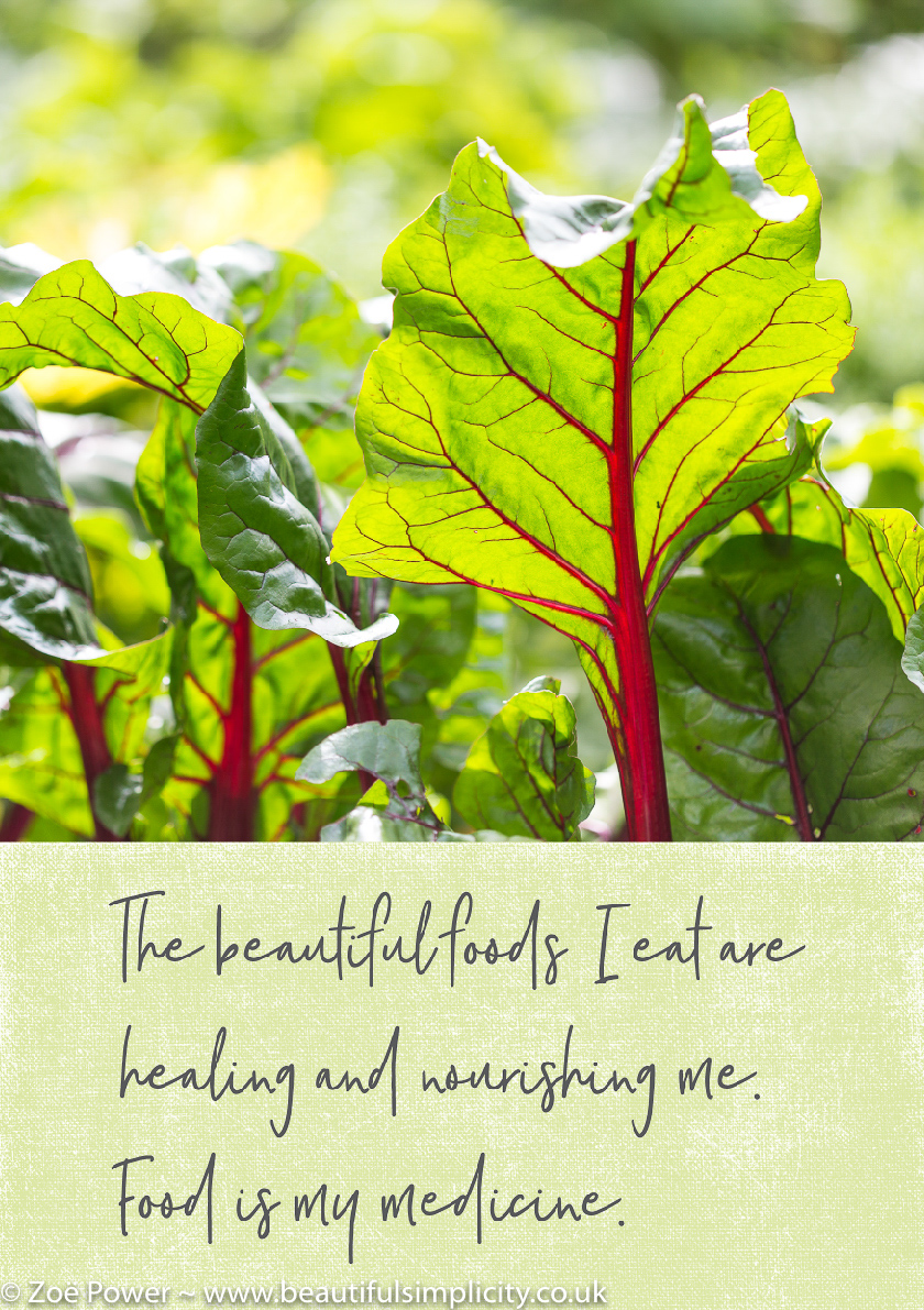 Affirmation: The beautiful foods I eat are healing and nourishing me. Food is my medicine.